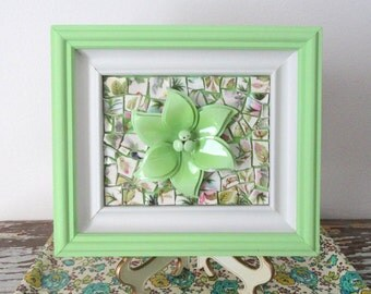 Flower Mosaic Art.  Pastel Green Wood Framed Original Art.  Green Flower Picture.  Enamel brooch.  Lime Sorbet Kitchen Art.  Broken China.