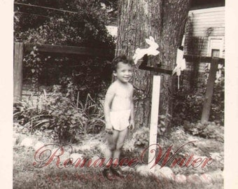 Vintage Photo Cute Little Boy wearing shorts Poses in front yard Rabbits