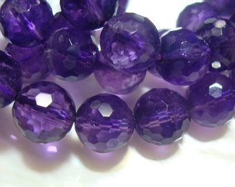 8mm, 6 pcs, AA+ Royal Purple Amethyst Micro Faceted Round Beads