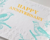 SALE - Happy Anniversary Birds Letterpress card -Tanagers - 60% off