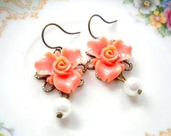 Flower Girl Earrings Peach Earrings Baby Girl Earrings Children Jewelry Little Girl Pearl Earrings Kid Wedding Jewelry Kid Earrings