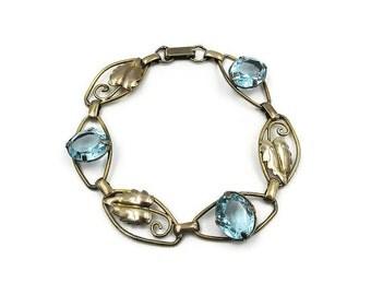 12K Gold Filled Aquamarine Glass Bracelet - Vintage Bracelet, Aqua Glass, Leaf Motif, Vintage Bracelet, Vintage Jewelry