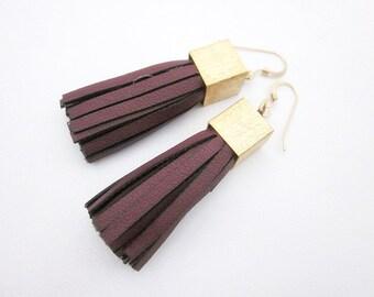 Leather Tassel Earrings -- Leather Fringe Earrings -- Burgundy Earrings -- Faux Leather Earrings -- Short Tassel Earrings -- Vegan Leather