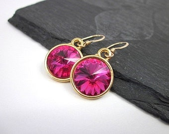 12mm Pink Earrings -- Fuchsia Pink Drop Earrings -- Fuchsia & Gold Earrings -- Hot Pink Crystal Earrings --Fuchsia Swarovski Dangle Earrings