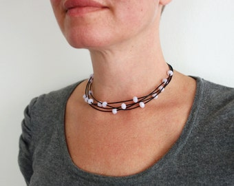 Statement choker necklace pink beads choker layered leather necklace black cords choker necklace for women