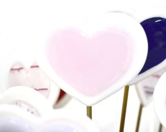Heart Plant Stake, Fused Glass, Valentine's Day, I Love You, Garden Stake, Anniversary Gift, Pink and White