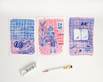 A set of 3 Blue & Purple Postcards