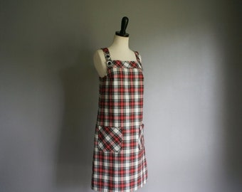30% off// Vintage 60s PLAID Sears Flannel Overall SCHOOL GIRL Dress (s-m)