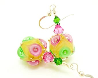 Yellow Earrings, Lampwork Earrings, Bright Earrings, Glass Bead Earrings, Beadwork Earrings, Glass Art Earrings, Unique Earrings