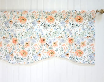 Watercolor Floral Window Valance, Designer Fabric, Floral Valance, Watercolor Floral Fabric, Valance, Window Treatment
