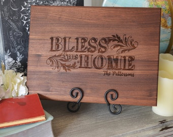 Personalized Engraved Cutting Board Bless This Home Choose From Walnut Maple Cherry or Bamboo
