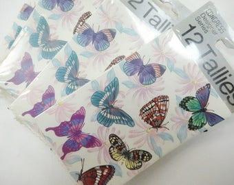 Vintage Congress Designer Series Bridge Tallies Butterfly Butterflies Unused (4) Each Packages