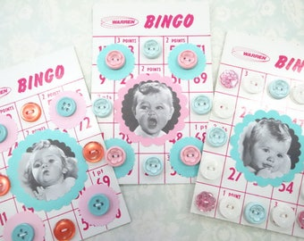 Baby Face Bingo Button Cards Lot (3) Each Vintage Inspired Pink and Aqua Nursery Theme
