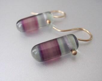 Banded Fluorite Drops Solid 14k Yellow Gold Earrings