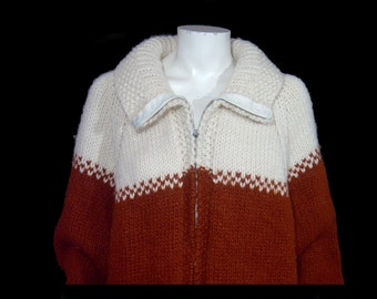 1960s 1970s chestnut brown rust & white wool sweater jacket ~ Men Large XL ~ Women Plus ~ zip up cardigan ~ hand knit tunic coat