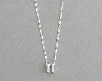 Rhodium Initial n Necklace