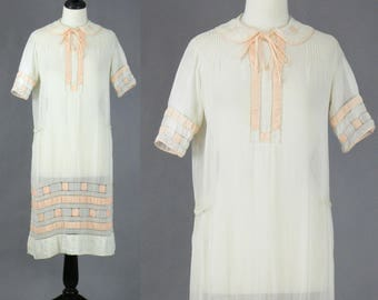 Vintage 1920s Day Dress, 20s Dress, Sheer White Cotton Flapper Dress, 1920s Summer Dress