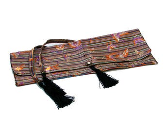Hair Stick Roll Bag Storage Organizer - Multi-colored Striped Silk with Butterfly Motif Brocade
