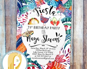 Fiesta Birthday Party Invitation, Fiesta Invitation, Taco Invitation, Watercolor Invitation, Mexico, DIY, Printed or Printable Invitations