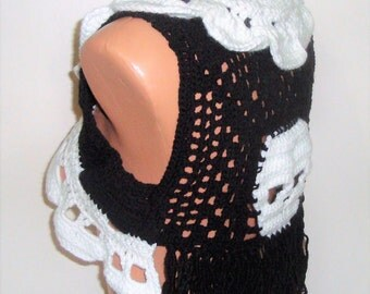 Festival clothing, women, Rave clothing, Rave outfit, Burning man, Skull, Hippie Clothes, Rock, Punk, Black White Skull Vest, Fringe vest