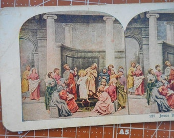 Antique Religious Stereoscope Card Jesus Before The Doctors Card No. 127