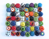 Kazuri Beads, 50 Kazuri Beads, Rainbow Coloured Ceramic Beads, Kazuri African Beads No. 72