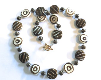 Kazuri Bead Necklace, Fair Trade Beads, Ceramic Necklace, Brown, Cream and Antique Gold Colored Kazuri Necklace