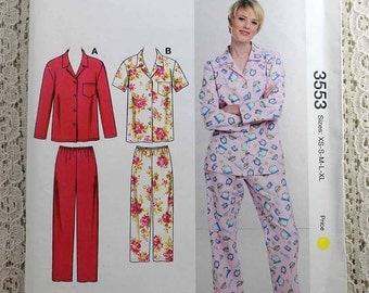 Kwik Sew 3553, Misses' Pajamas Sewing Pattern, PJ Sewing Pattern, Two Piece Pajama Pattern, Misses' Sizes XS to XL, Uncut