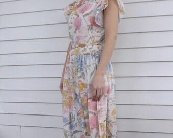 Floral Sheer Vintage Dress Retro Flutter Kay Windsor S