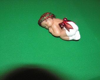Polymer clay sculpt , Christmas baby, girl ,painted hair , diaper, and socks, headband, ribbon, OOAK baby, sleeping baby,