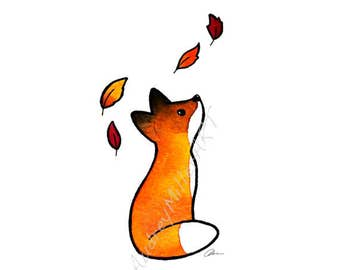 The Fox and The Leaves - 8x10 Art Print