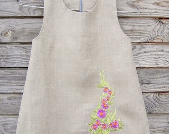 Linen Embroidered Dress, Flower Girl, Rustic Wedding, Natural Linen, Girl clothing, Summer Dress Handmade linen dress Toddler dress, Dresses