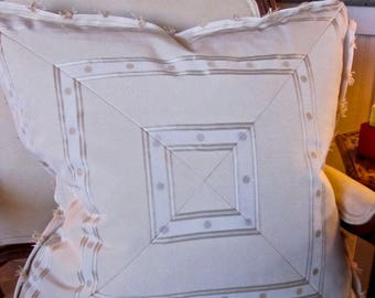 "BRUNSCHWIG and FILS Designer Beige Mitered Decorator Pillow Cover 20"" x 20"" Flat Flange Beautiful!"
