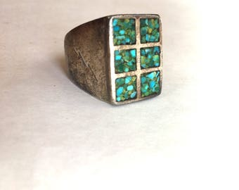Turquoise Sterling Men's Ring - Size 10.25