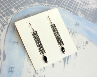 Nine Muses Sterling Silver Earrings of New Orleans Historical Map