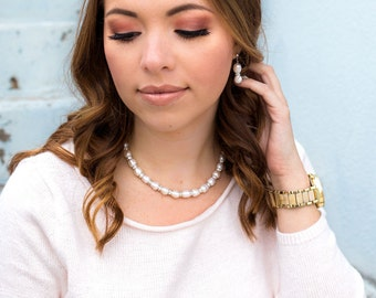 Freshwater Pearl Earrings, Pearl Wedding Jewelry, Baroque Pearls