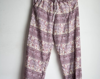 Purple Elephant Printed Rayon Harem Pants /Gypsy Pants/Aladdin Pants/Genie Pants/Yoga Pants /Thai Pants