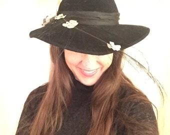 Miller Thomas for Sylvia Vintage Black Velvet  Hat, Feather and Flowers Church Hat, Dress Hat, Derby Hat