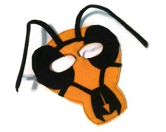 Wasp Mask, Bug Mask, Woodland Animal Mask, Animal Birthday Party Favor, Child's Halloween Costume, Adult Mask, Adult Costume
