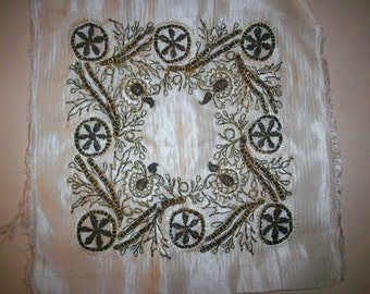Antique silk embroidered with metal thread bronze color
