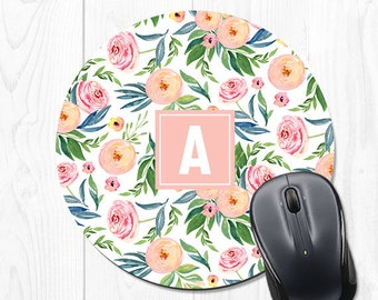 Personalized Mousepad Pink Mouse Pad Monogrammed Mousepad Floral Mousepad Pink Office Supplies Monogram Mouse Pad Office Supplies Desk Decor