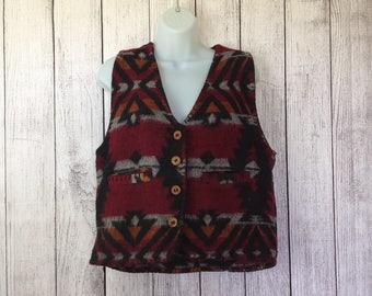 Vintage 80s Wool Blend Southwest Southwestern Print Western Vest Ladies M