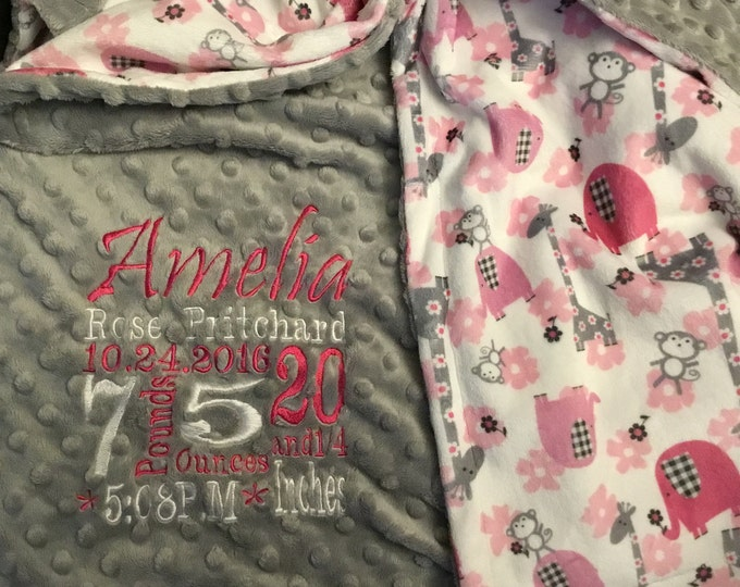 Featured listing image: Personalized custom minky blanket
