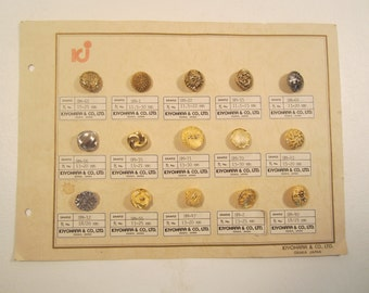 Vintage Brass Button Card Salesman Sample Kiyohara & Co Ltd Osaka Japan