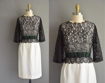 50s Stephen O' Grady black lace dress for holiday party.  1950s dress