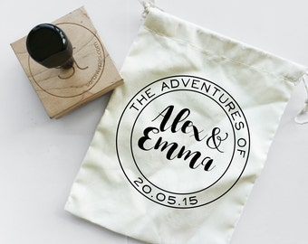 Custom Wedding Stamp - The Adventures Of - Wedding Invitation Favours Stamp