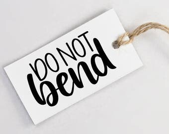 Hand Lettered 'DO NOT BEND' Stamp - Brush Script Calligraphy Rubber Stamp for Packaging