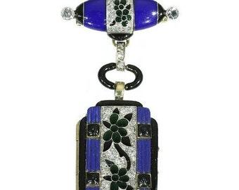30% Off Winter Sale Blue Lady Watch Pendant Brooch Art Deco Diamonds Gold Enamel