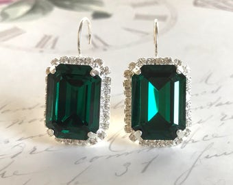 Emerald Green Bridal Earrings, Wedding Earrings, Swarovski Crystal Earrings, Rhinestone Earrings, Vintage Style,