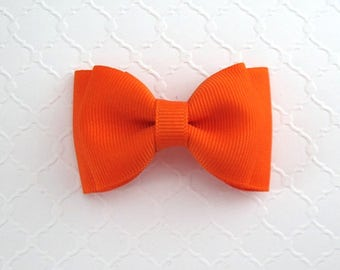 Cute Orange Hair Bow ~ Toddler Girls Halloween Back To School Simple Boutique Hair Bow
